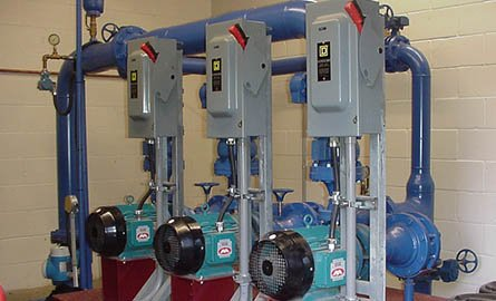 Picture of pipes and pumps for residential water service